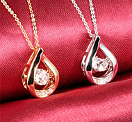 Drops of Water Diamond Ms 18K Gold Titanium Steel NecklacesImitation Diamond Birthstone