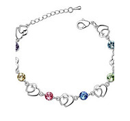 Hot New Charming Lovely Simple Bling Heart Crystal Bracelet Bangle Party Jewelry For Women