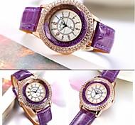 GoGoey ® Brand Ladies' Watch Full Rhinestone Dial Round Watches Women Fashion Quartz PU Band Wrist Watch Dress Jewelry