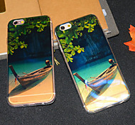 Wood Boat Glitter Blu-ray Reflective Semitransparent Soft iphone Back  Cover for iphone 6s/iphone 6