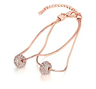 Fashion Women's Rhinestone Rose Gold Plated Tin Alloy Strand Bracelet(Rose Gold)(1Pc)