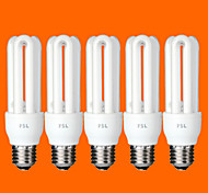 5 pcs FSL® E26/E27 T3 3U 11W 580LM 6500K Cool White Light CFL Bulbs (AC220V)