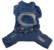 Dog Coat / Clothes/Jumpsuit / Denim Jacket/Jeans Jacket Blue / Dark Blue Winter Jeans Fashion / Keep Warm