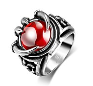 Fashion Individual Men's Red Cubic Zirconia Stoving Varnish Claw Stainless Steel Ring(Black)(1Pc)