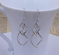 925 Sterling Silver Earrings fringed twisted leaves