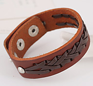 Wire kniting Leather Belt Cut Edge Punk Wrist Bracelets 1pc