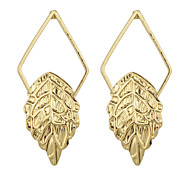 Gold Silver Plated Leaf Shaped Hanging Drop Earrings