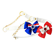 Dog Collars Adjustable/Retractable Red / Blue PU Leather