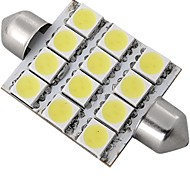auto witte koepel 12 LED 5050 SMD interieur lamp licht 42mm (2 stuks)