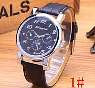 Men's Fashion Watch Imitation Three Men's Casual High Quality PU Leather Quartz Watch Cool Watch Unique Watch