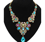 Women's Statement Necklaces Gemstone Alloy Drop Fashion Blue Screen Color Jewelry