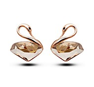 Luxury Stud Earrings for Women Vintage Crystal Swan Stud Earrings Fashion Jewelry Accessories Silver Plated