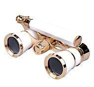 Binocular Opera Theater Telescope Exquisite 3x25 Glasses White Body With Golden