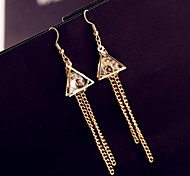 Han Edition Of Fashionable Women Popular Double Triangle Ring Set Auger Lock Chain Tassel Alloy Earrings