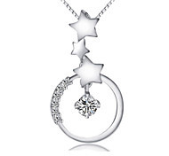 Lureme®  Korean Fashion  Crystal 925  Sterling Silver  Star Pendant Necklace