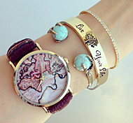 Womens Watches Fashion Map Wristwatch Leather Female Watch Analog Quartz Watch For Women Men Unisex watches