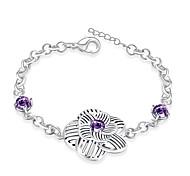 Korean-style Romantic Purple Crystal Flower Bracelet Women's Silver Plated Wristband Bracelet(Color:Silver)