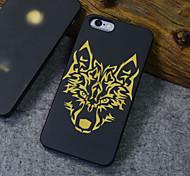 noir coque iphone bois TIMBERWOLVES forêt loup totem dur couverture arrière pour 6s iphone plus / iphone 6 plus
