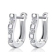 Lureme®  Korean Fashion 925  Sterling Silver Crystal  Harp Earrings