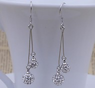 925 sterling silver long ball diamond Tassel Earrings