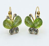 Pendiente Pendients de aro Joyas 2 piezas Legierung / Zirconia Cúbica Mujer Dorado / Verde