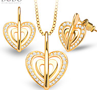 Luxury Heart Shaped Crystal Necklace Earring Women Fashion Jewelry Set 18K Gold Plated Vintage Bridal Gift S20151