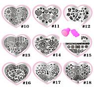 9pcs Liebe blau Film Nagelplatte 10-18 # send eine Reihe von Werkzeugen ealed