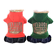 Dog Hoodie Green / Orange Winter Jeans / Letter & Number Fashion