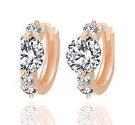 Allergy Free Gold Plated Women Stud Earrings European Style Luxury Big Zircon Insert Earrings