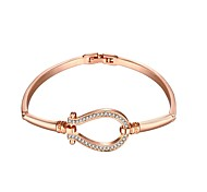 Fashion  Women's Rhinestone Rose Gold Plated Tin Alloy Chain & Link Bracelet(Rose Gold)(1Pc)