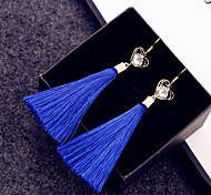 Simple double heart-shaped diamond tassel earrings women earring alloy