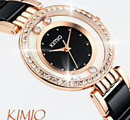 KIMIO ® Brand Ladies' Bracelet Watch Full Rhinestone Dial Round Watch Women Fashion Faux Ceramics Dress Watch Jewelry Cool Watches Unique Watches