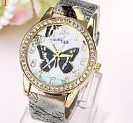 nouvelle montre papillon de diamant de mode montre pu ceinture de quartz de dames