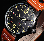 Mens Watches Relogio Sports Time Module Quartz Watches Luminous Hands Date Day Watch Military Army Leather Wrist Watch Cool Watch Unique Watch