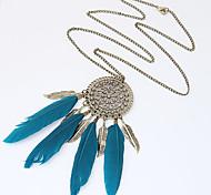 Women Hot Vintage Bronze Feather Leaf Tassel Pendant Long Chain Necklace