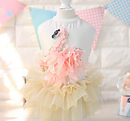 Cat / Dog Dress White / Pink Dog Clothes Summer / Spring/Fall Floral / Botanical Fashion