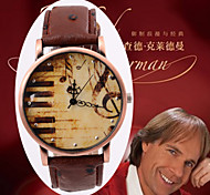 Leather Strap Watch For  Quartz Wristwatch Retro Copper Alloy Plate Trendy Music Note surface watch gifts