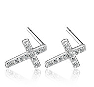Lureme®  Korean Fashion 925  Sterling Silver Zircon Cross Hypoallergenic Earrings