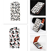 Mickey  Pattern Up-down Turn Over PU Leather Full Body Case for iPhone 4/4S