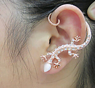 HUALUO@Korean Jewelry Popular Nightclub Bright Diamond Ear Hook Earrings Rose gold Earrings Exaggerated Gecko