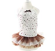 Dog Dress Coffee Dog Clothes Summer / Spring/Fall Polka Dots / Bowknot Fashion