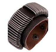 Punk Men's Wire Winding Wide Leather Bracelets