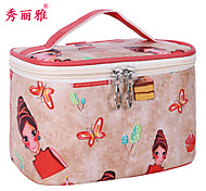Makeup Storage Cosmetic Bag / Makeup Storage Polyester Cartoon Quadrate 19.5x13x12.5cm Black / Blue / Purple / Pink / Rose