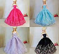 Barbie Doll Red / Light Purple / Black / Sky Blue Party & Evening Organza / Lace Dresses Dresses