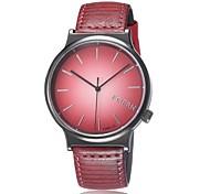 Mulheres Relógio de Moda Quartz Relógio Casual PU Banda Relógio de Pulso Vermelho