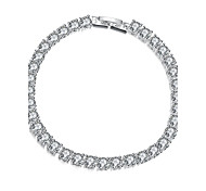 Twinkle Grace Women's White Cubic Zirconia Silver Plated Brass Chain & Link Bracelet(White)(1Pc)
