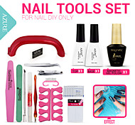 Nail Art Tools 9W UV Lamp & 1 Color Magetic Nail Gel  Base And Top Coat Gel Nail Polish Kit