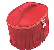 Makeup Storage Cosmetic Bag / Makeup Storage PU Tassel Ellipse 20.5*16*12cm Black / Brown / Blue / Red / Burgundy / Coffee