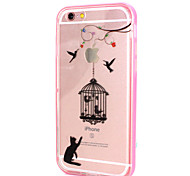 Cats and Birds Design LED Flicker Back Cover+Bumper Cover for IPhone 6/6S