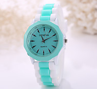 Women's Fashion Watch Casual Watch Quartz Rubber Band Black White Blue Brown Green Pink Purple Strap Watch